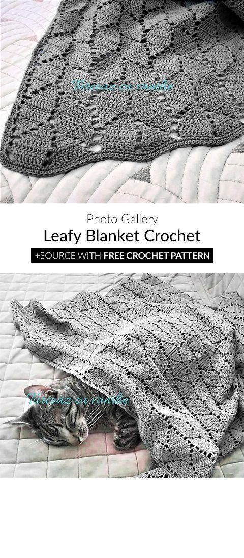 Leafy Blanket Crochet | mantas y almohadones | Pinterest | Manta ...