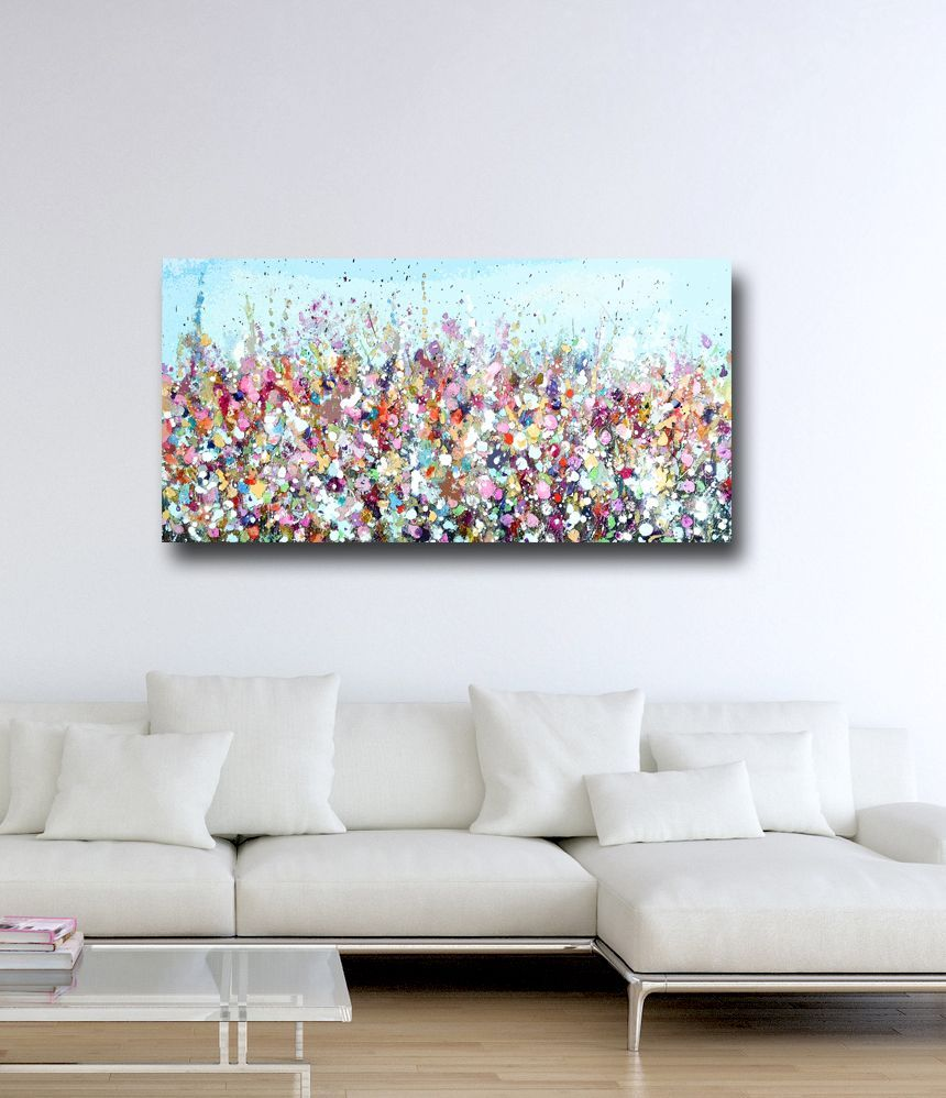 Floral meadow abstract canvas art panoramic giclee print paintings