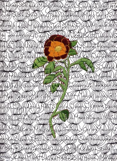 Maria Ikonomopoulou, Let a thousand flowers bloom, 2009, Print and embroidery on hahnemuhle canvas.
