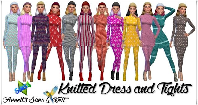 Sims 4 CC's - The Best: Knitted Dresses & Tights by Annett85