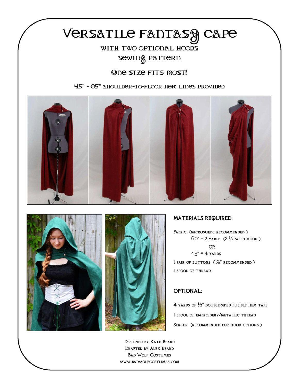 Versatile Fantasy Cape Sewing Pattern - Fantasy, Roman, cloak ...
