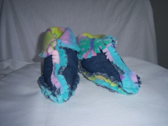Recycled Blue Jean Baby Booties by jeanoligy on Etsy, $9.95