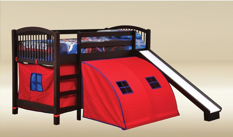 Bunk Beds With Tents Junior Walnut Kids Twin Loft Bunk Bed With