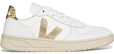 Veja Net Sustain V10 Metallictrimmed Leather And Mesh Sneakers  White