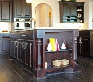 Burrows Cabinets Kitchen Island In Espresso With Built Bookshelf