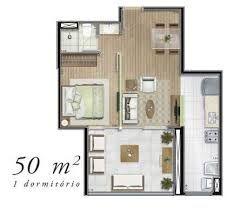 Resultado de imagem para planos de casas de menos de 50m2 for Distribucion apartamento 50 m2