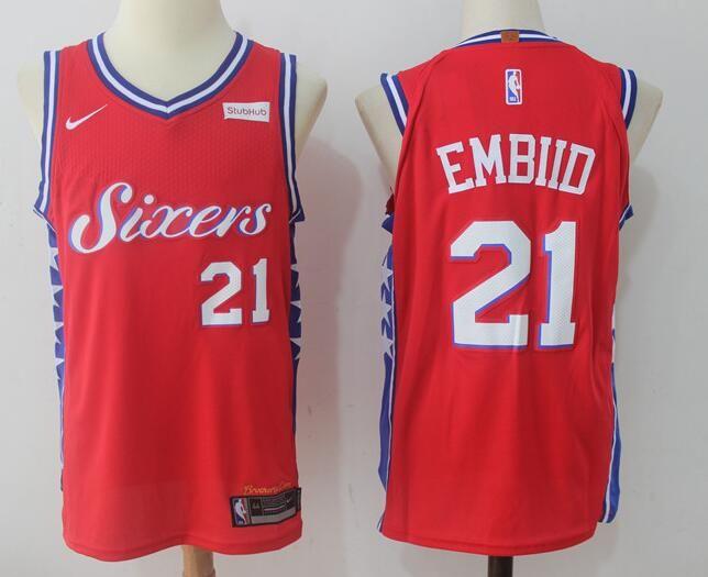 Men's Philadelphia 76ers #21 Joel Embiid 2017-18 Nike Red Swingman StubHub Stitched NBA Jersey