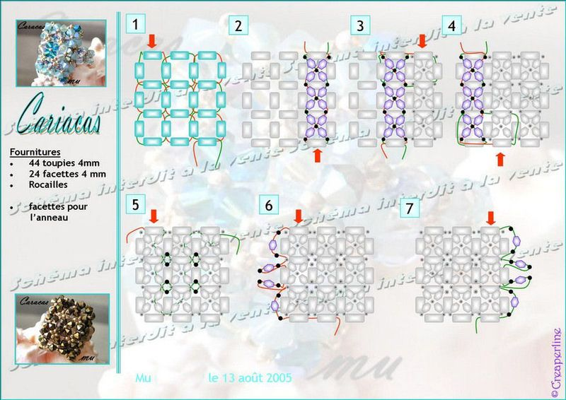 CARIACAS Ring - FREE Pattern by CentPerles. Use: 44 bicone beads 4mm, 24 faceted beads 4mm, seed beads (11/0), faceted beads for the ring band