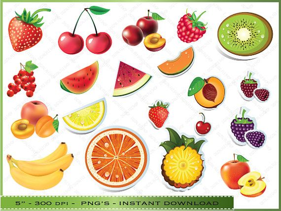 Fruit ClipArt / Digital Clip Art For Scrapbooking / Invitations / Card Making / Personal Commercial Use / Instant Download Clip Art