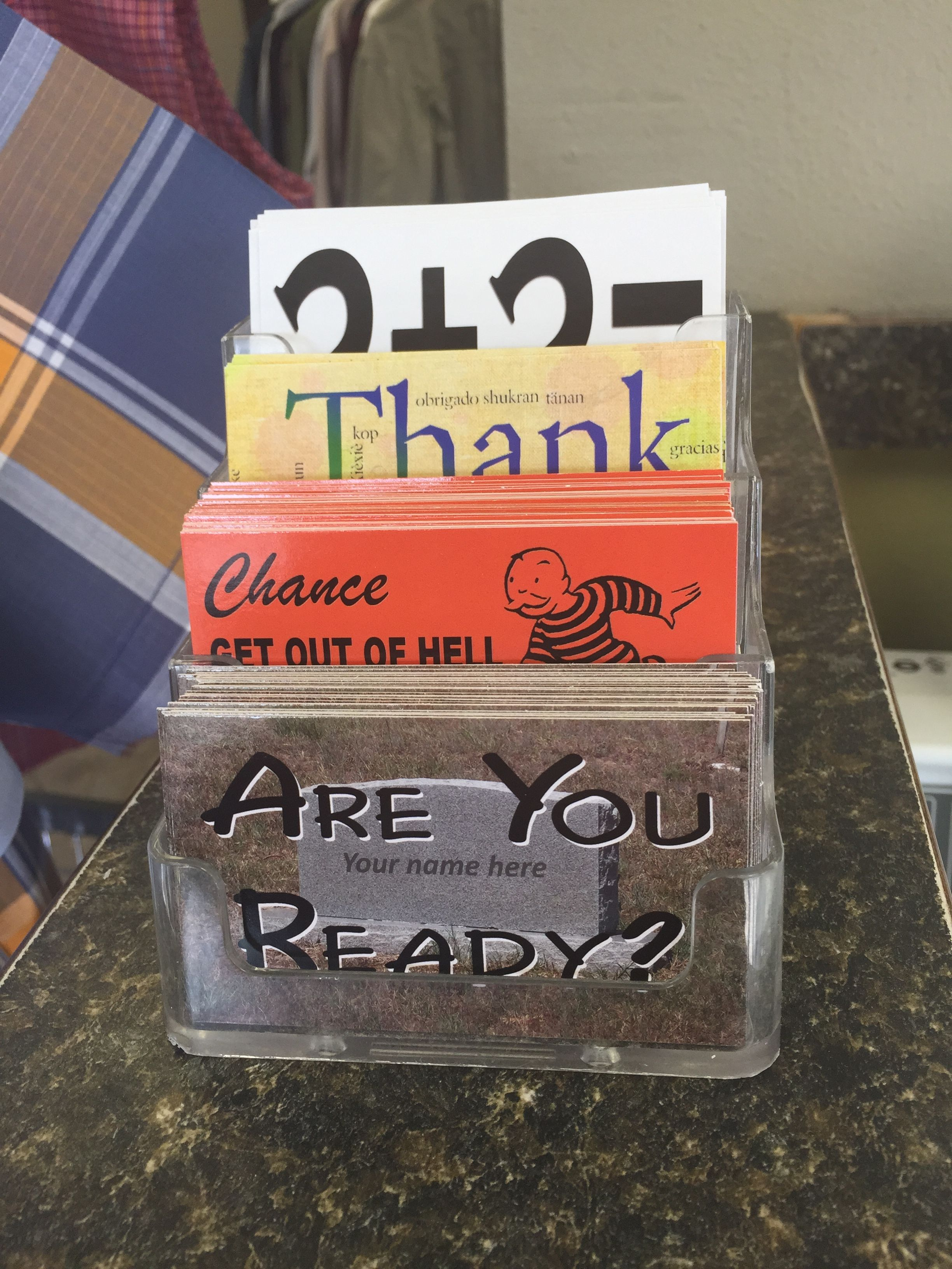 A business card holder can be used for tracts too this