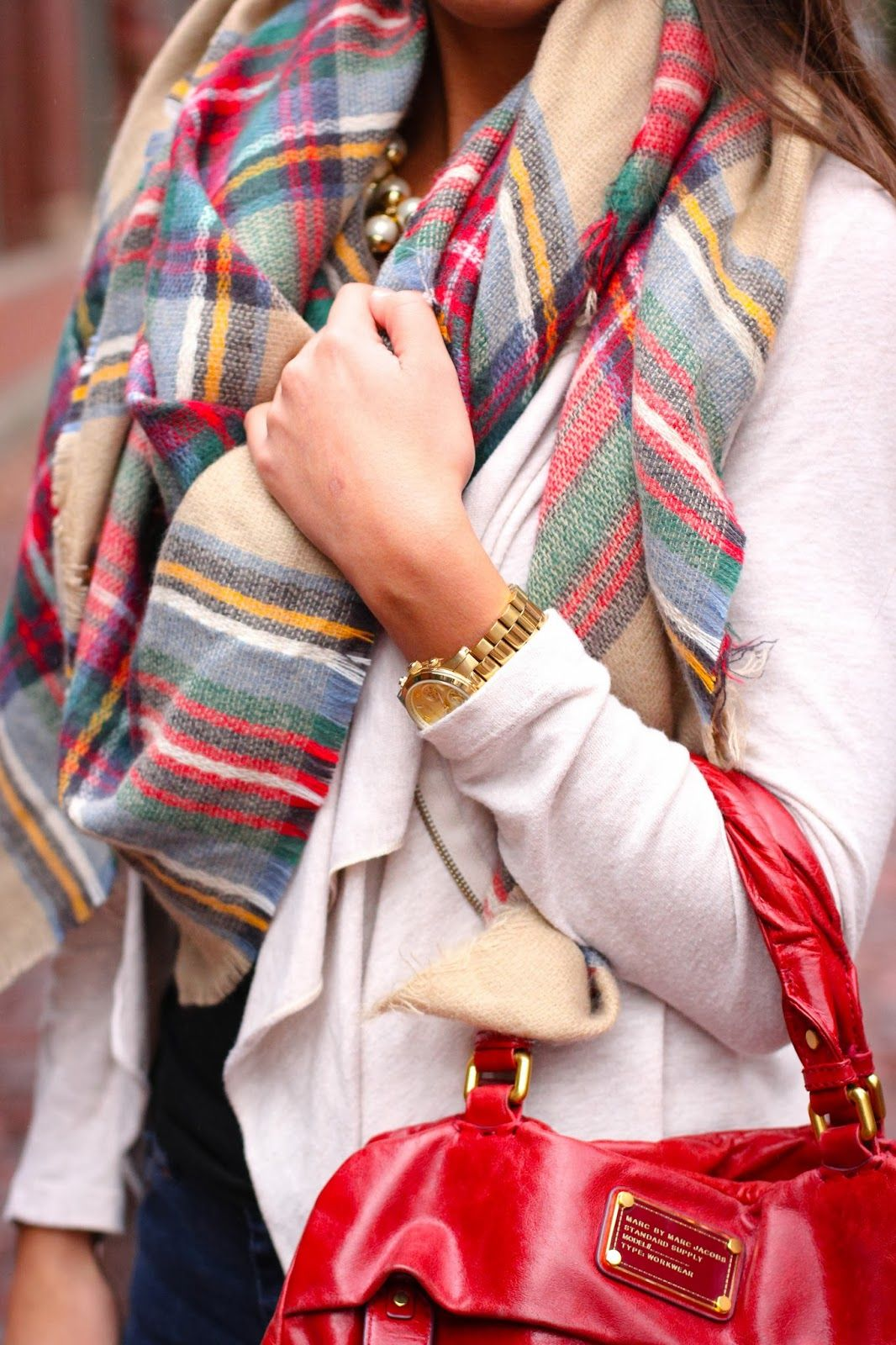 Zara plaid scarf + J.Crew Pearls