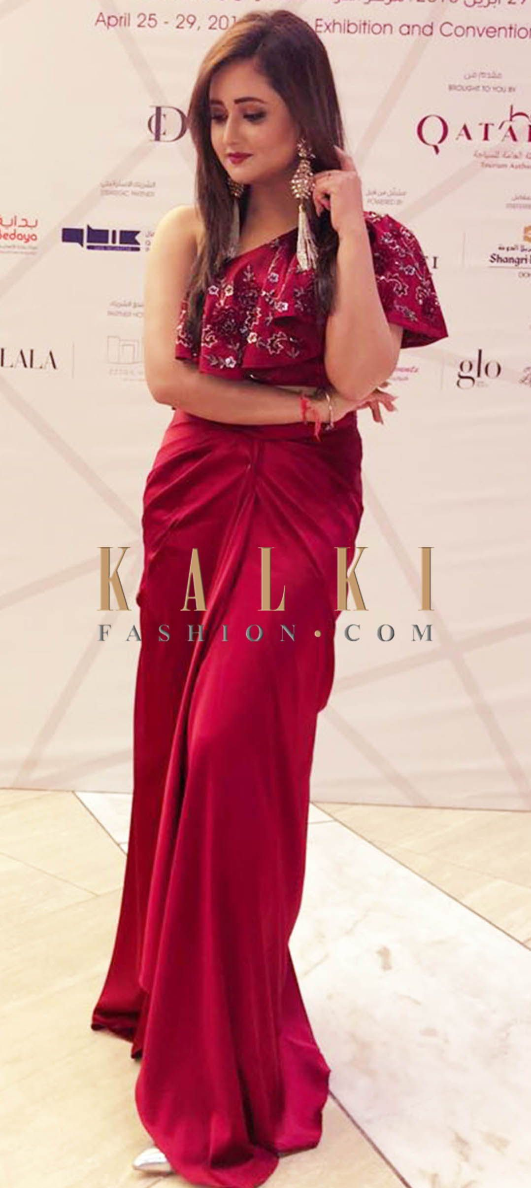 5db254f4f1a4 We ship worldwide (Free Shipping over US 100) Click Anywhere to Tag Rashmi  Desai in Kalki maroon cape matched with drape skirt Maroon cape matched  with ...
