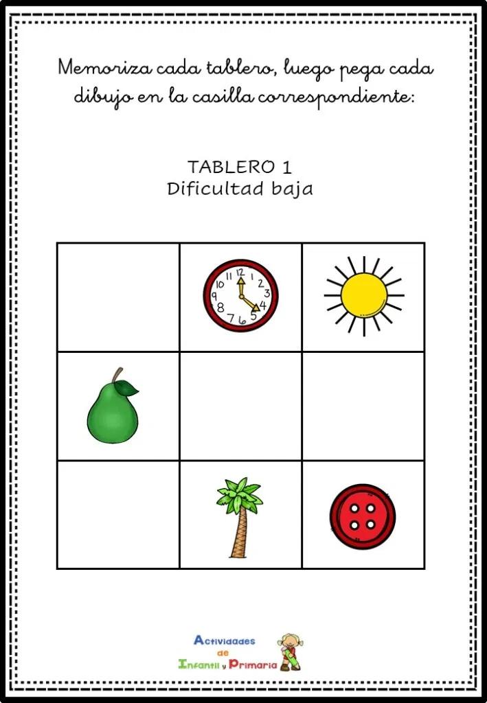 Juego Manipulativo De Memoria Y Atención Para Niños Actividades De Alfabetización Memoria Actividades Para Niños
