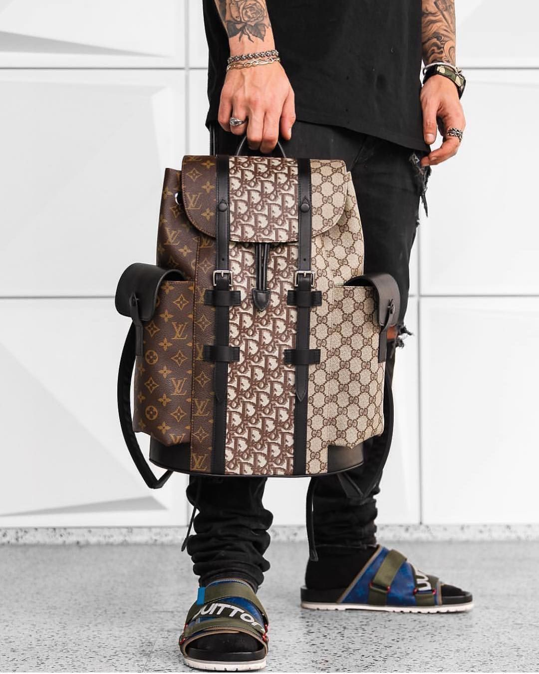 Vogue Luxury Lifestyle On Instagram Custom Mix Designer Backpack Louisvuitton Dior Gucci Louisvuitton Lv Rare Clothing Fashion Designer Backpacks