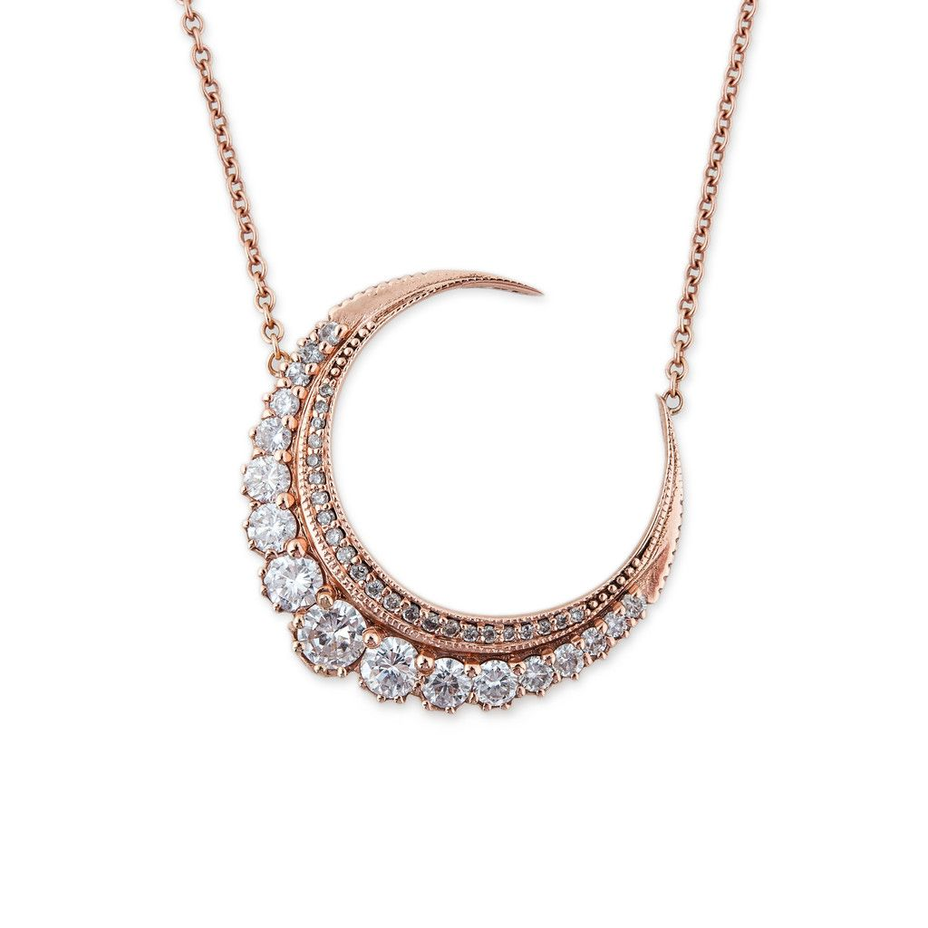 Diamond crescent moon necklace crescents white gold and moon