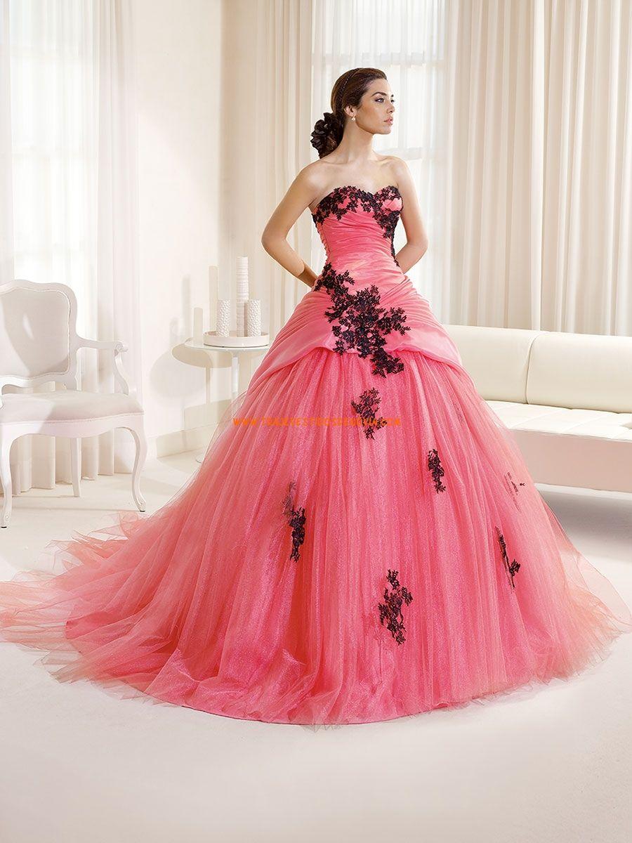 Vestidos de fiesta de color rosa con apliques de encaje en negro ...