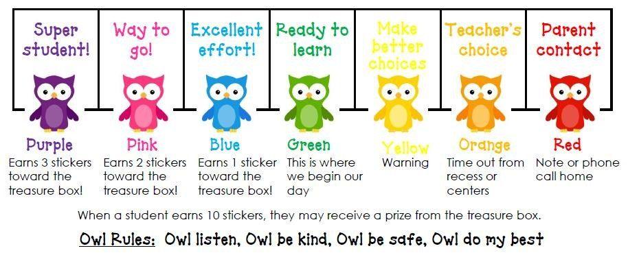 Half Day In Pre K Owl Behavior Chart