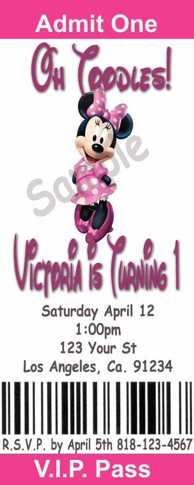 Minnie Mouse Printable Movie Ticket Style Party Invitations Minnie