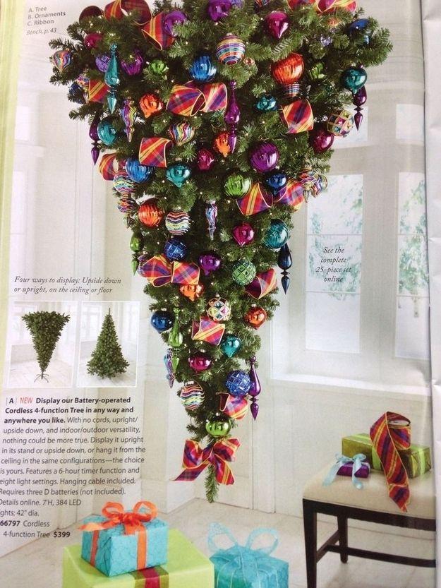 Upside-down Christmas trees. | Upside down christmas tree, Diy christmas tree, Outdoor christmas ...