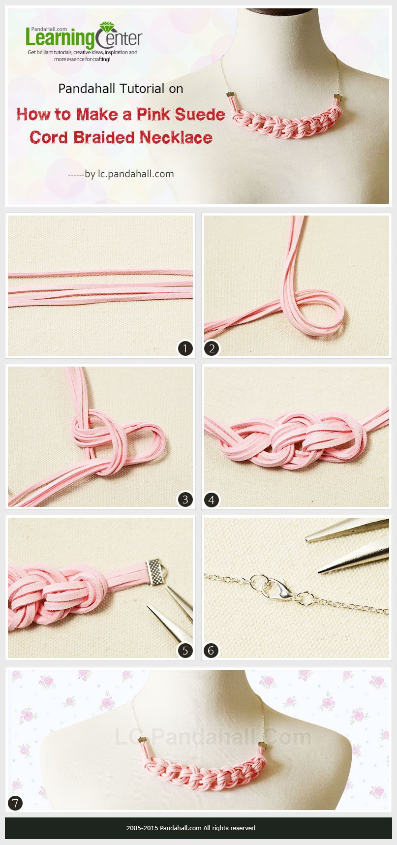 How to-Make-a-Pink-Suede-Cord Braided Necklace | Necklaces ...