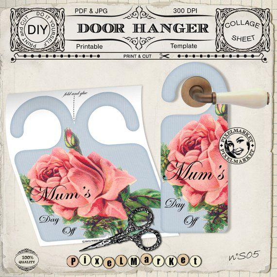 DOOR HANGER Printable Template Do not disturb Door Sign Mother\u0027s day