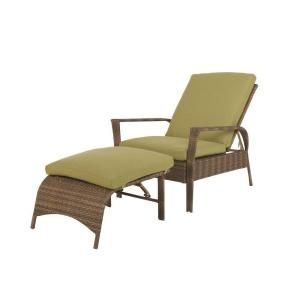 Martha Stewart Living Charlottetown Brown All Weather Wicker 2 Piece Patio  Chaise With Green