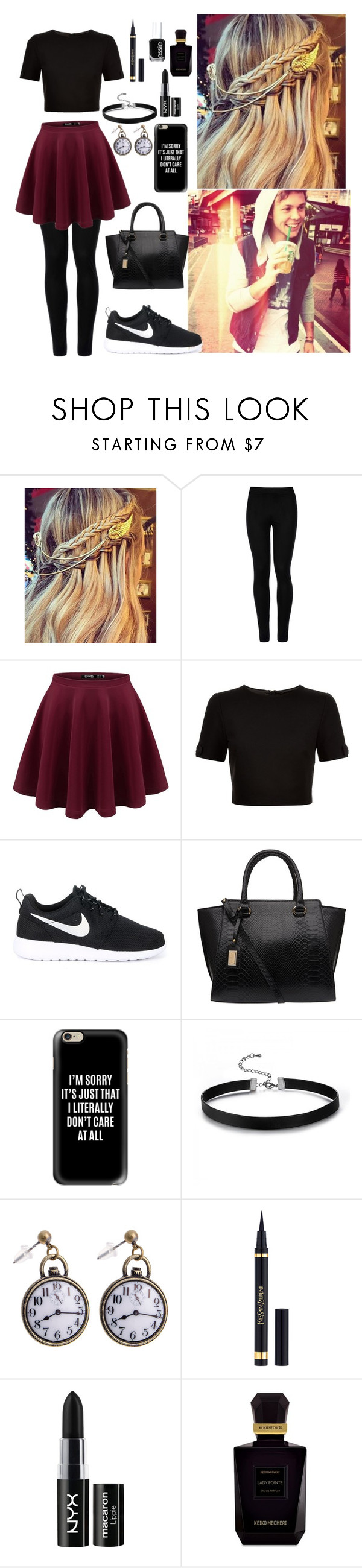"""""""Round in town with ash"""" by flxshlxght ❤ liked on Polyvore featuring Wolford, Ted Baker, NIKE, Casetify, Yves Saint Laurent, NYX, Keiko Mecheri and Essie"""
