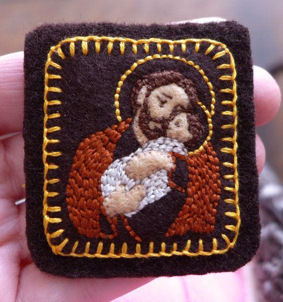 Embroidered Brown Scapular Dark Brown Saint by StellaMarigoldArt, $70.00