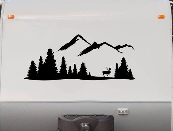 Mountains Motorhome Stripe Kit - Moose RV Stickers - Trailer Stickers- Camper Vinyl Decal- Sticker Graphic- Motorhome Decals- RV Stripe Kit-