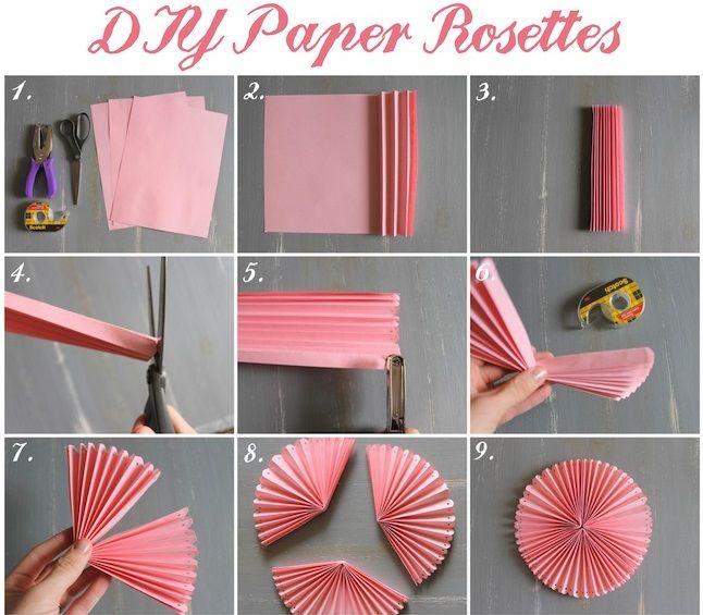 How To Diy Easy Beautiful Paper Rosettes Diy Tutorials Paper Rosettes Diy Paper Bridal Shower Decorations