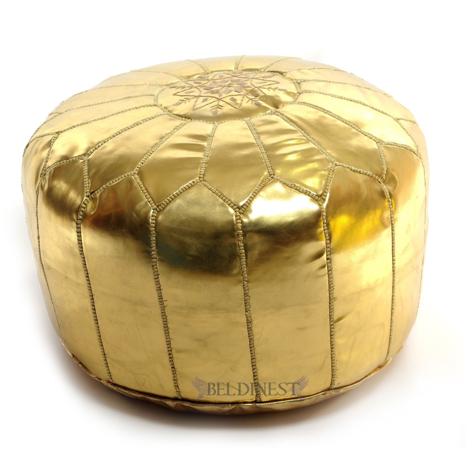 Square handcrafted moroccan leather pouf dark tan pouf pouffe ottoman - Moroccan Pouf Ottoman Gold Ski Leather Pouf Round Ottoman Foot Stool