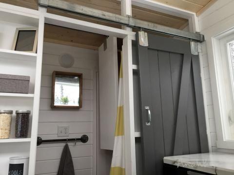 Diy Barn Door For Tiny House Tiny House Loft Shed To Tiny House Tiny House Bathroom