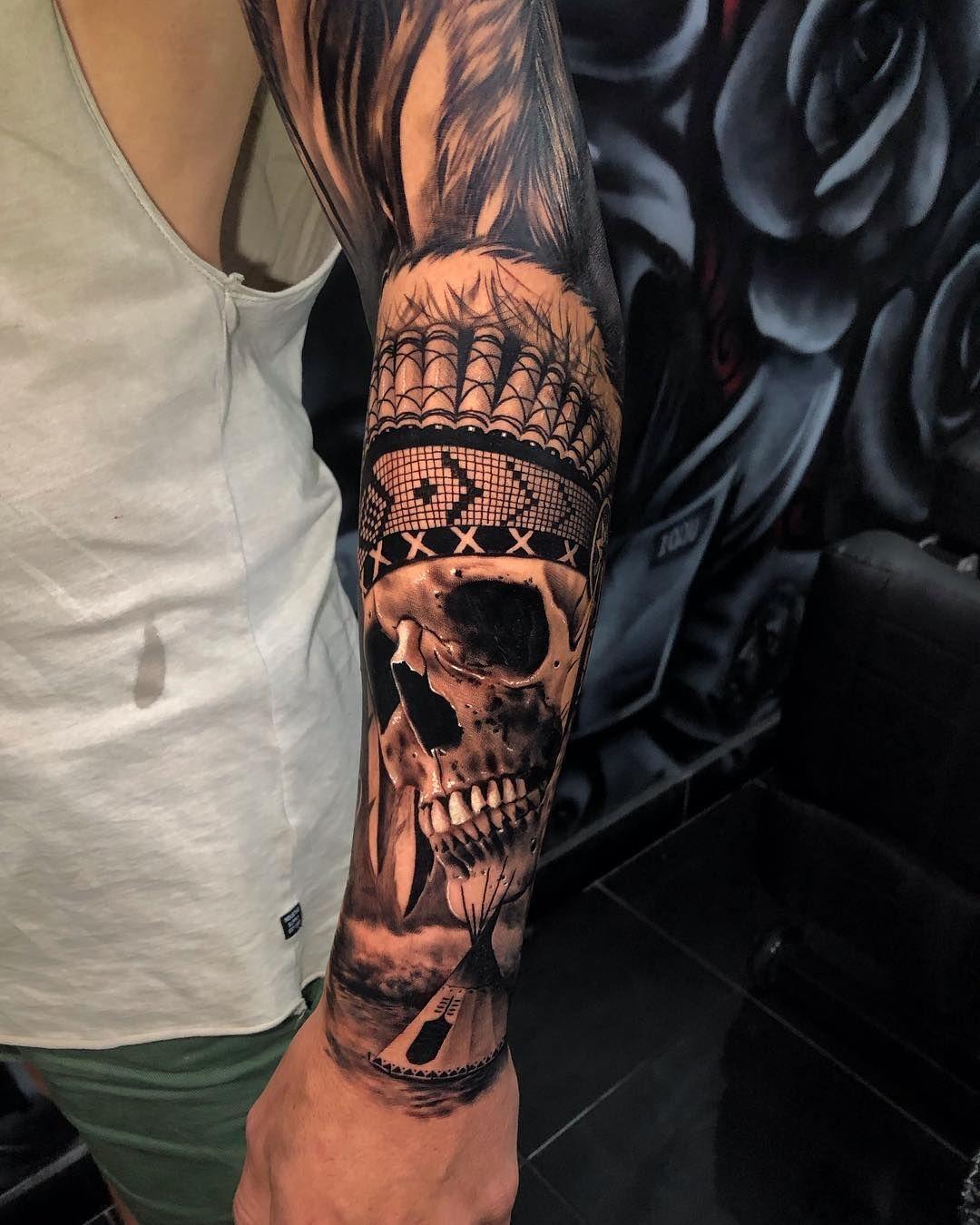 Native American Tattoo Tattoo Ideas And Inspiration Native American Tattoo Sleeve Indian Skull Tattoos Headdress Tattoo