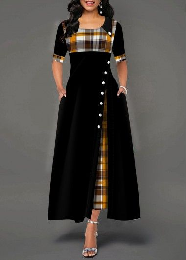 Half Sleeve Plaid Print Button Detail Maxi Dress #fashiondresses