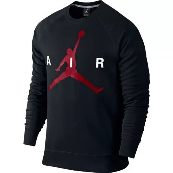 Nike Air Sweater Long Black Sleeve Jordan Crewneck 664rx
