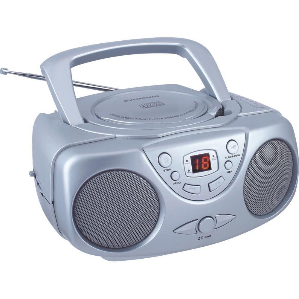 SYLVANIA SRCD243M SILVER Portable CD Boom Box with AM-FM Radio (Silver)