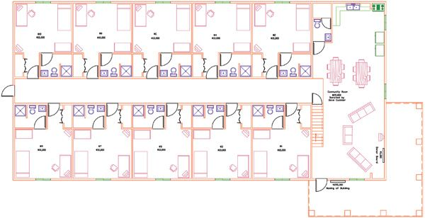 Sample Floorplan For Dorm Bldg Note The Bathroom In Every Room Hotel Room Plan Room Planning Dorm Bathroom