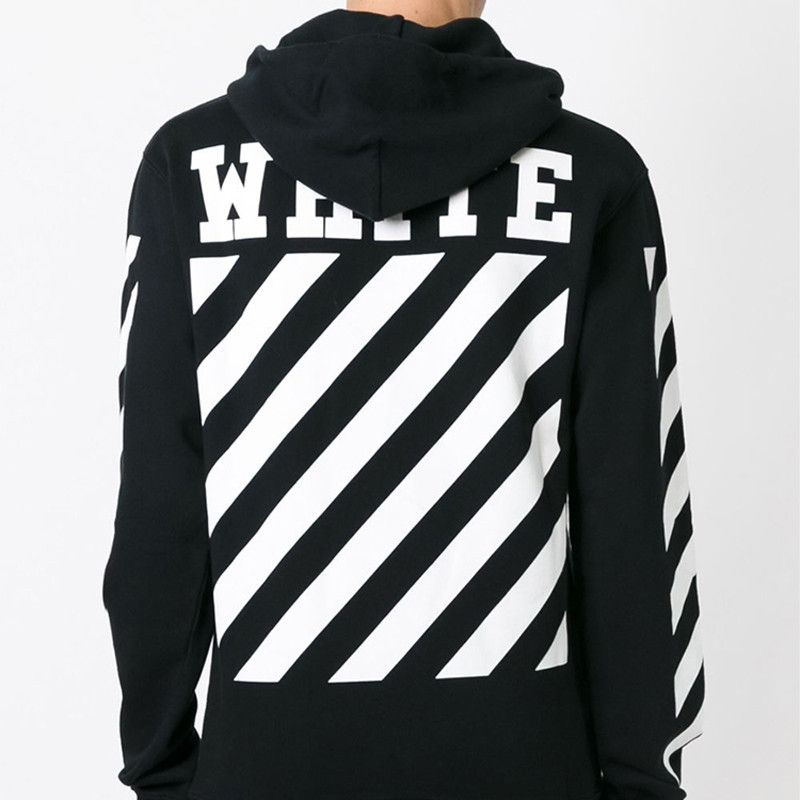 c2552e30cdbb4f Justin Bieber Same Hoodie Men 1:1 High Quality OFF WHITE Striped Printing  Sweatshirts Homme