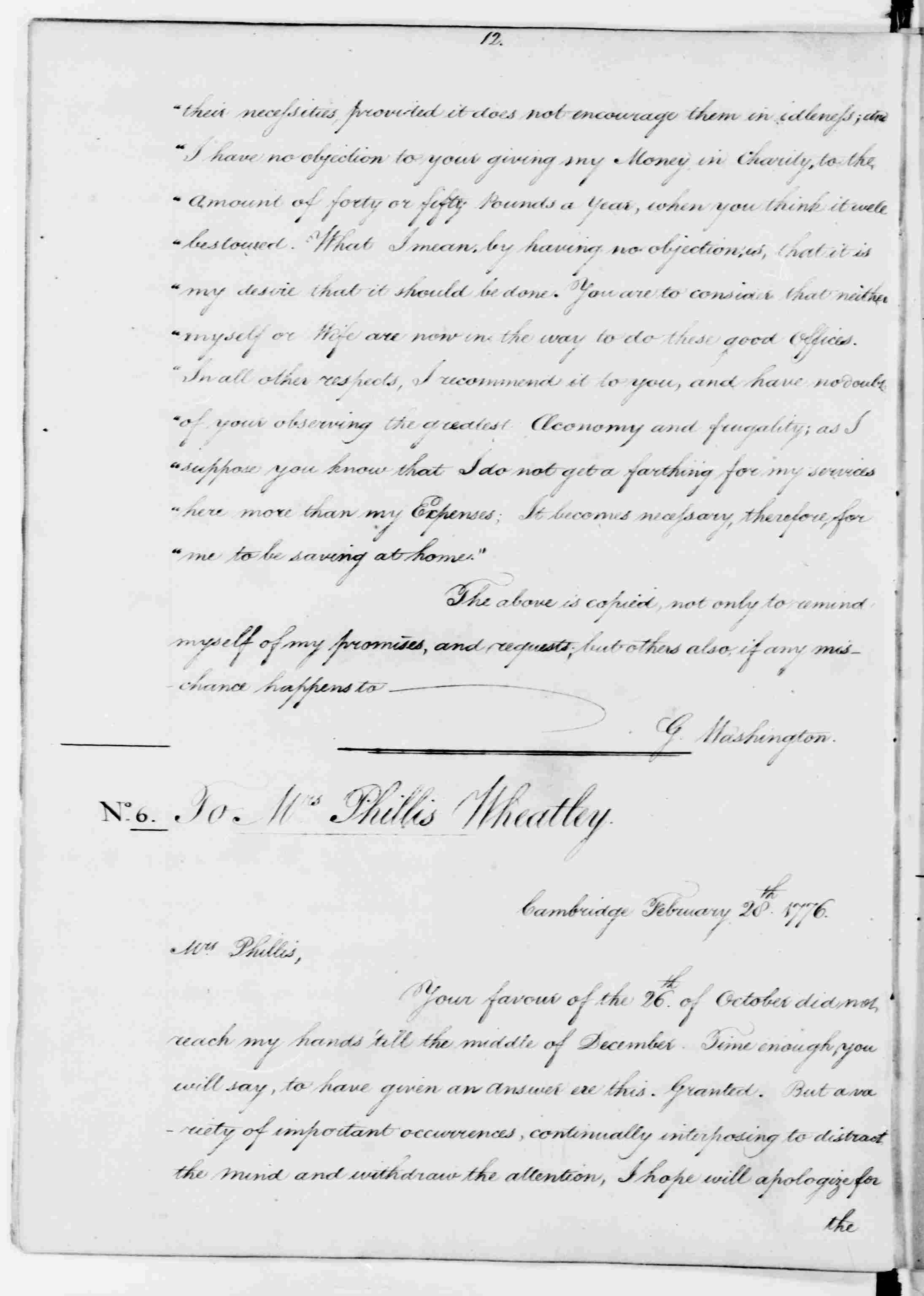 George Washington S Letter To Phillis Wheatley February 28 1776