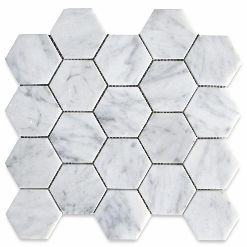 7 Grey Bathroom Floor Tile Ideas That Are Sure To Inspire In 2020 Hexagon Mosaic Tile Hexagonal Mosaic Gray Tile Bathroom Floor