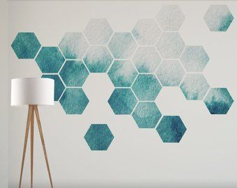 Photo of Items similar to removable honeycomb wall decal, 8 hexagon stickers per pack, self canvas art sticker, watercolor design on Etsy