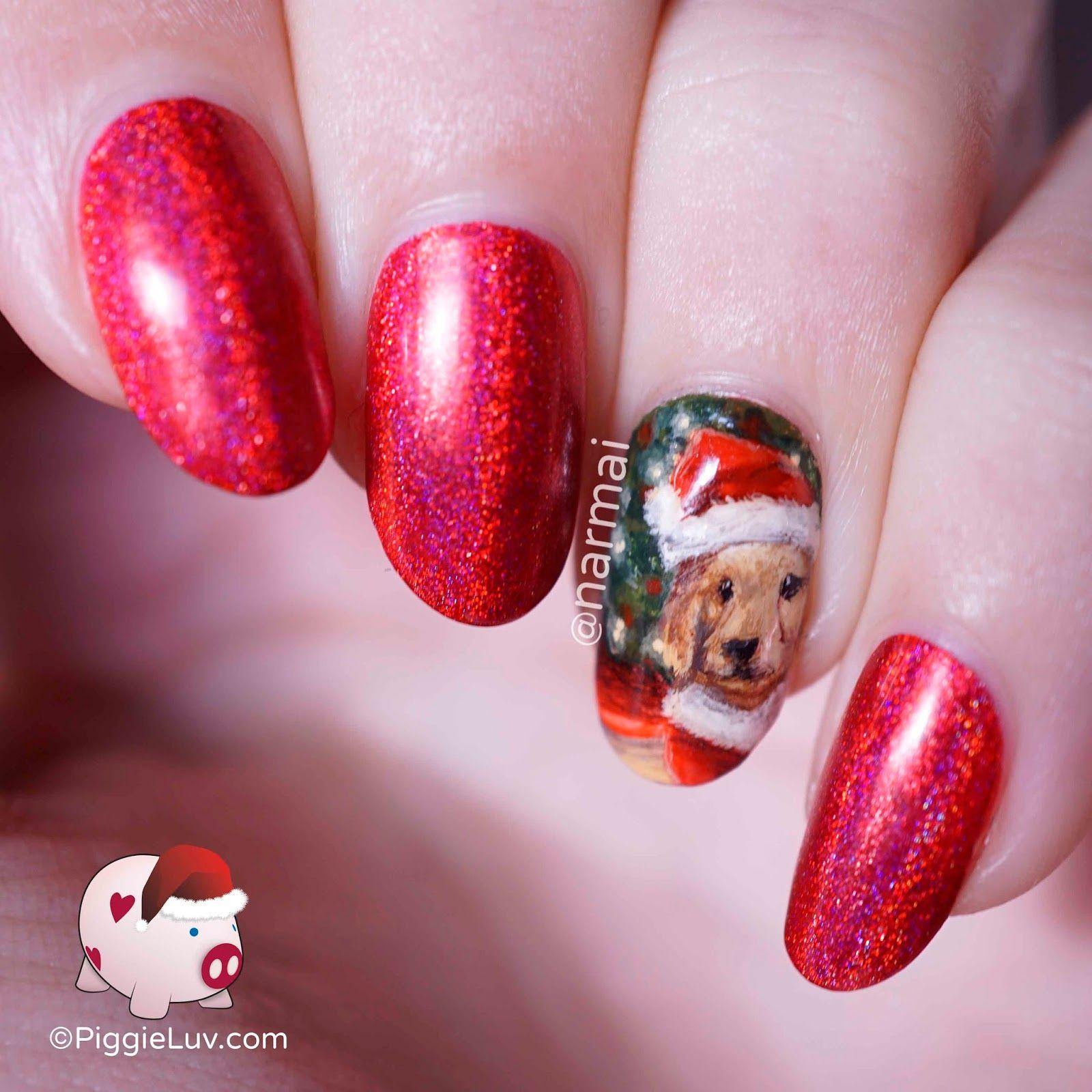 Santa Dog Nail Art For Christmas Dog Nail Art Nail Art Galleries