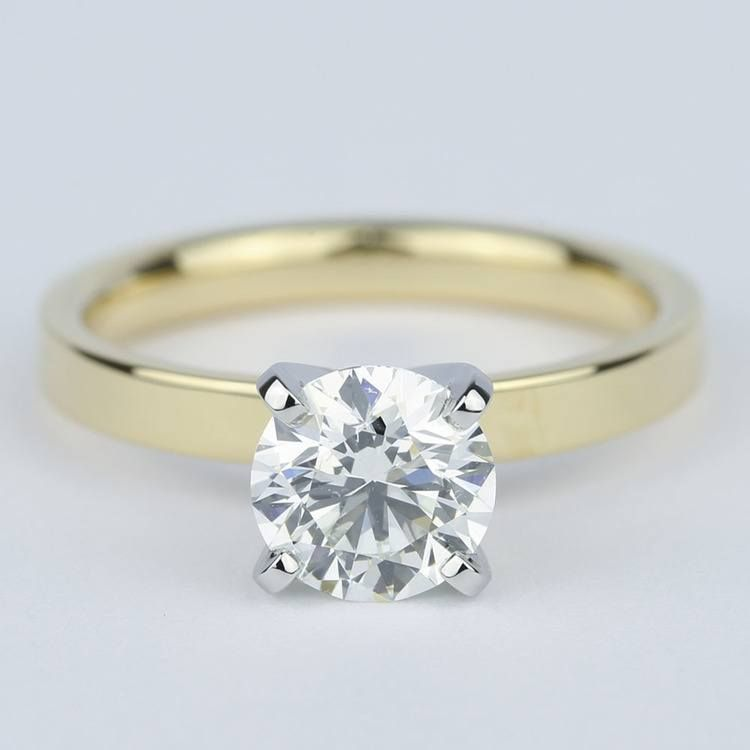 This Near Colorless Diamond Set On A Flat Yellow Gold Band With White G Round Diamond Engagement Rings Round Solitaire Engagement Ring Diamond Engagement Rings