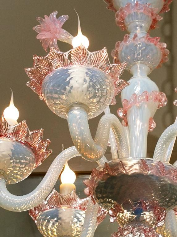 Pink And White Murano Blown Glass Chandelier With Flowers Circa 1940 Glass Chandelier Blown Glass Chandelier Flower Chandelier