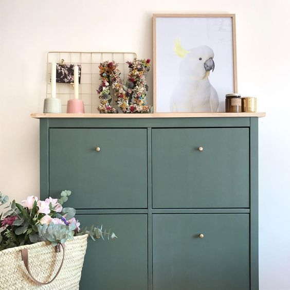 A Dark Green IKEA Hemnes Shoe Cabinet Hack With A Wooden