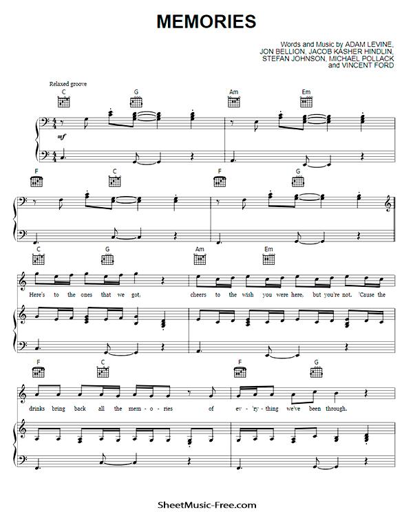 Memories Sheet Music Maroon 5 In 2020 Sheet Music Piano Sheet Music Free Sheet Music Pdf