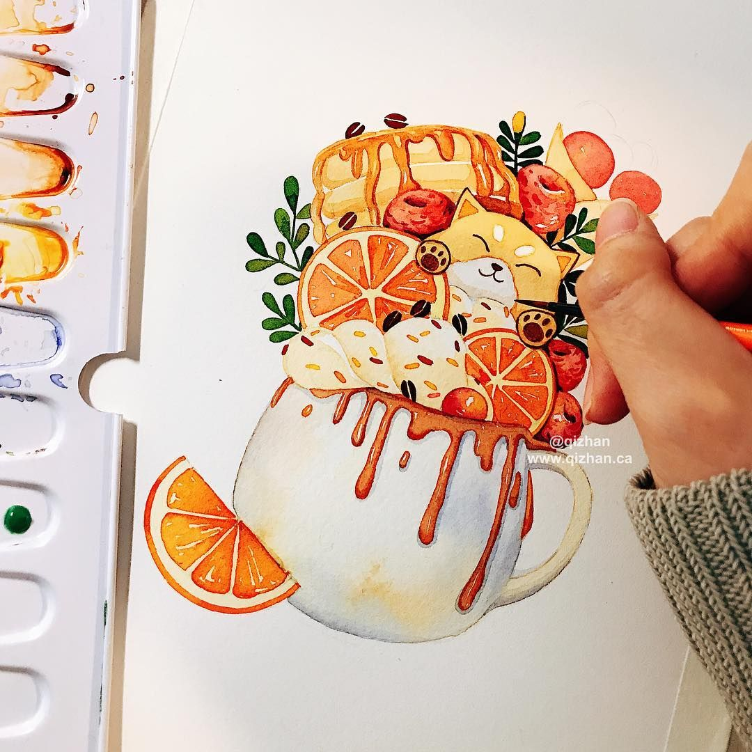 Drawing Process For The Corgi Drink Illustration Design