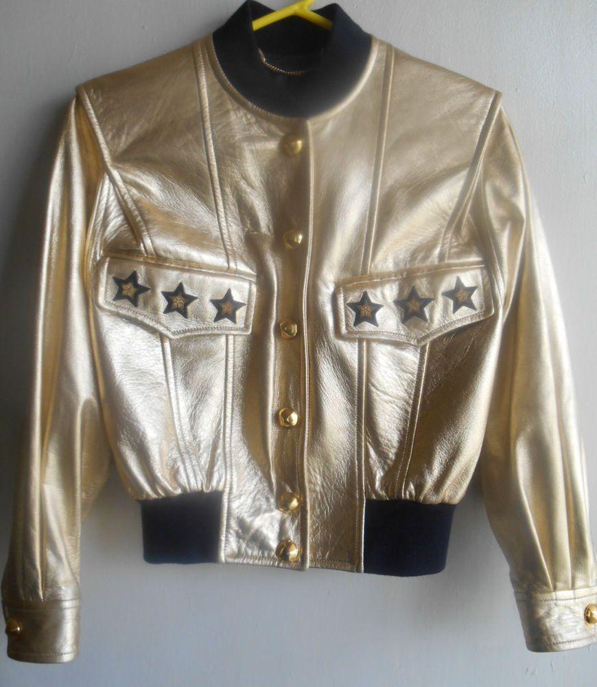 Escada Vintage Motorcyle Bomber Leather Jacket Coat Gold Metallic Blue Stars 38 Leather Jacket Leather Bomber Jacket Jackets [ 1000 x 870 Pixel ]