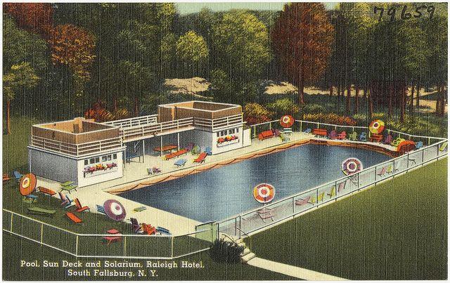 Pool Sun Deck And Solarium Raleigh Hotel South Fallsburg N Y By Boston Public Library Via Flickr Raleigh Hotels Hotel Place South Fallsburg
