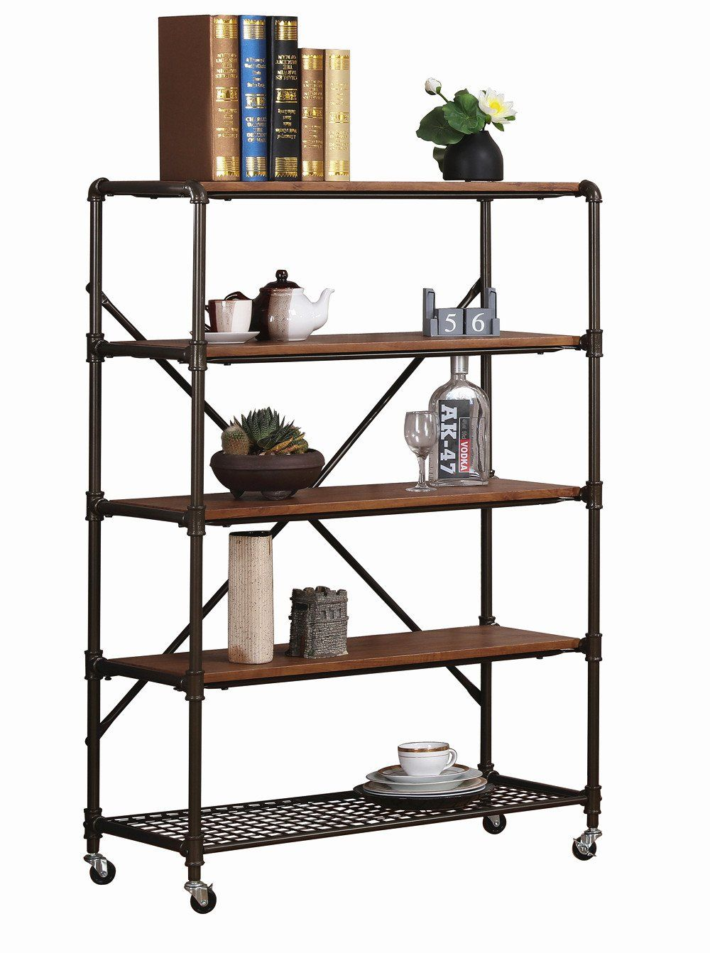 Ok furniture 5 shelf industrial bookshelf with wheels display storage rack 45 5h